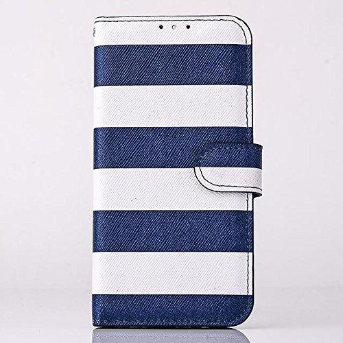 """inShang Hülle für Apple iPhone 6 iPhone 6S 4.7 inch iPhone6 iPhone6S 4.7"""", Cover Mit Modisch Klickschnalle + Errichten-in der Tasche + Zebra Stripe, Edles PU Leder Tasche Skins Etui Schutzhülle Stände stripe navy blue"""