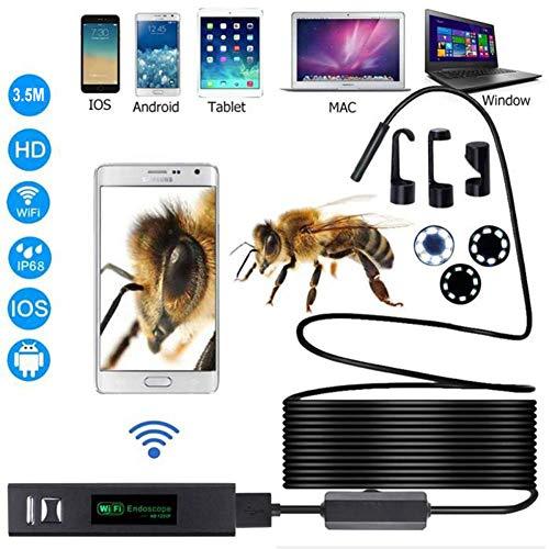 Lychee WiFi Endoscopio Wireless Impermeabile IP68 Telecamera Ispezione, 8 LED Luminosità Regolabile, 2.0 Megapixel 1200P HD Full Snake Camera per Android e iOS iPhone/Windows/Mac/PC- 3.5M Cavi