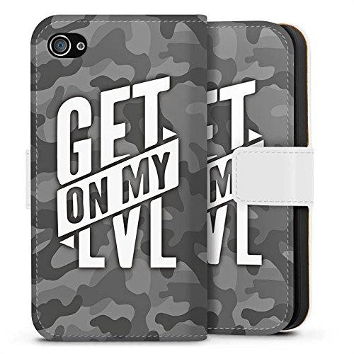 Apple iPhone 8 Hülle Premium Case Cover Montanablack Fanartikel Merchandise Get On My Level Gray Sideflip Tasche weiß