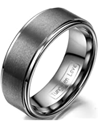 JewelryWe Anillo de la joyería de la mujer del hombre 8mm Mate tungsteno unisex aniversario/