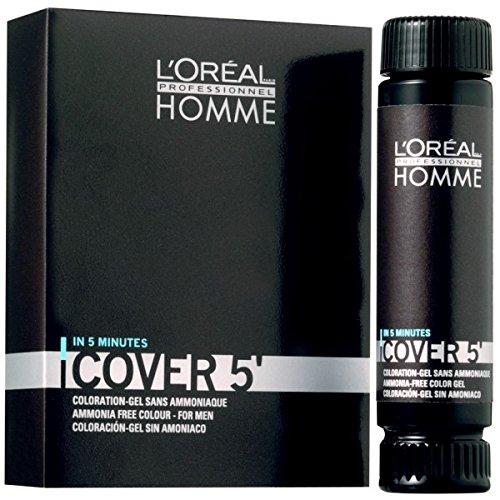 L'oréal paris - set di 3tinte per capelli da uomo homme cover 5n. 5, 50ml, colore: castano chiaro