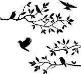 Cosanter Wasserdicht Wandaufkleber PVC Schwarz Baum Vine Zweig und Vögel Abnehmbare Wandtattoo Wall Sticker