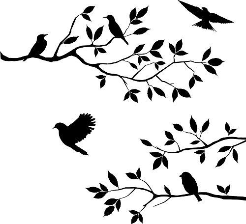 Wandaufkleber PVC Schwarz Baum Vine Zweig und Vögel Abnehmbare Wandtattoo Wall Sticker (Deko-ideen Für Halloween)