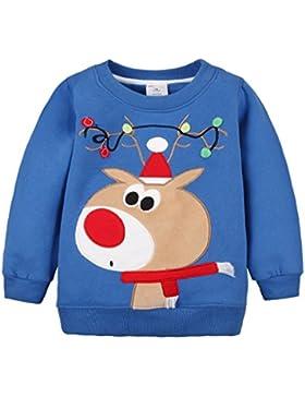 Sweatshirt Baby Shirt Weihnachten Hirsch Fleecepullover langarm Babykleidung für Jungen Mädchen Vine