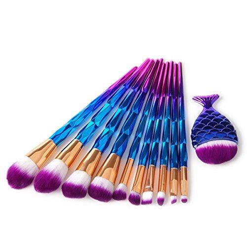 10 Pcs Unicorn Makeup Brushes Extremely Soft Hair Set of Makeup Brushes Foundation Powder Blush Brushes + 1 PC Ovale Mermaid Cosmétiques Brosse (Bleu-Violet)