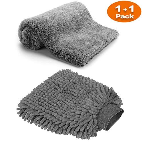 Große Auto-Waschhandschuh und Mikrofaser-Reinigungstüch - Deluxe Koralle Chenille-Handschuh-Poliertücher Perfekt für Küche - Autowäsche & Farbe (1x Tücher + 1x Handschuh)