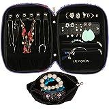 Lily & Drew - Boîte à bijoux de voyage avec pochette amovible, fleur (Violet) - LWO0003-O