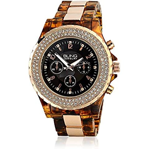 Bling Jewelry Geneva guscio di tartaruga sguardo Rose Gold Plated Boyfriend orologio in (Shell Accenti)