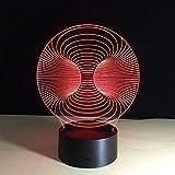 SHNDYW Nachtlichter Neues abstraktes rundes buntes Steigung 3D Licht LED Acryl visuelles Licht Berührungsschalter Licht Nachtlicht