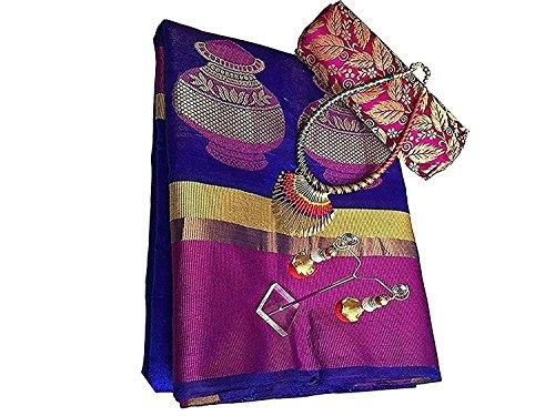 Art Décor Sarees Women's Blue Color Banarasi Silk Jacquard Saree With Blouse With Jewellery Necklace & Latkan