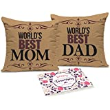 [Sponsored]Tied Ribbons Gift For Dad And Mom Set Of 2 Printed Cushion (12 Inch X 12 Inch, Multicolor) With Inner Filler And Greeting Card