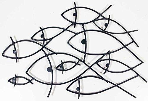 Wall Art - Scultura da parete - Wall Art Contemporaneo in Metallo - Banco di pesci stilizzao