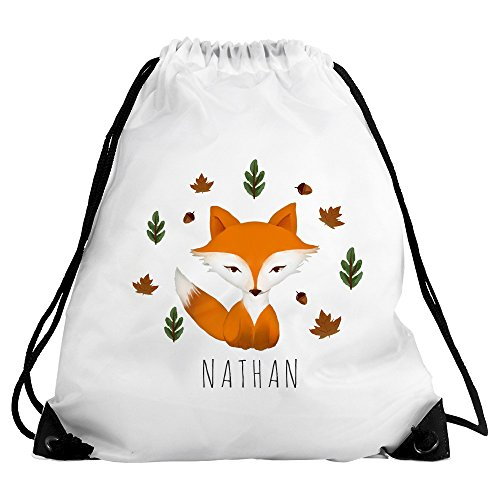 Eurofoto Turnbeutel mit Namen Nathan und schönem Fuchs-Motiv im Aquarell-Stil für Jungen | Sport-Beutel für Kinder | Gymbag