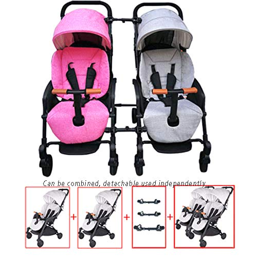 WJSWYE Twin Strollers Baby Pram Tandem Buggy Newborn Pushchair Ultra Light Folding Child Shock Absorber Trolley Can Sit Half Lying 0-3 Years Old,A