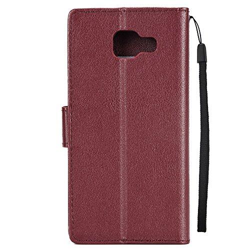 Classic Premiu PU Ledertasche, Horizontale Flip Stand Case Cover mit Cash & Card Slots & Lanyard & Soft TPU Interio Rückseite für Samsung Galaxy A510 ( Color : Darkblue ) Wine