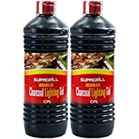 (2 Pack) 2 X Supagrill BBQ Lighter GEL Barbecue Lighting Odourless GEL Fuel 2 x 1 Litre Bottles SAFER THAN CONVENTIONAL FLUIDS