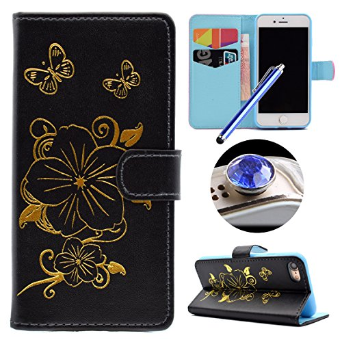 Etsue iPhone 7 Cover,iPhone 7 Custodia in Pelle Portafoglio Oro Gold Fiori Bella Modello Artificiale Leather Pu Puro Wallet/Libro/Flip Antigraffio Bumper Protettiva Case Cover Morbida Flessible Tpu In Lusso2