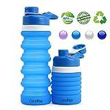 Gearlifee Botella de Agua Plegable, Botella de Agua de Silicona Plegable, Aprobado por la Fda, sin BPA, Botella Deportiva con Tapa Anticaídas Cap-550ML (Azul Claro)
