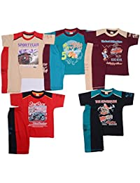 1ly Cargos Boys Half Sleeve 3/4th Set 5pcs Pack with Five Different Attractive Colours