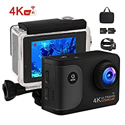 Ccbetter Action Camera, Wifi Action Cam 4k Sports Cam 20mp Camera Ultra Full Hd Underwater Camera Helmet Camera Waterproof 170 Degree Wide Angle With 2 Improved Batteries Transport Bag & Free Accessories For Cycling Swimming Climbing Diving
