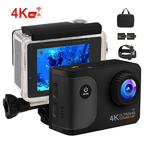 ccbetter Action Kamera +20 zubehör ,WIFI Action Cam 4K Sports Cam 20MP Kamera Ultra Full HD Unterwasserkamera Helmkamera wasserdicht 170 Grad Weitwinkel mit 2 verbesserten Batterien Transporttasche und kostenlose