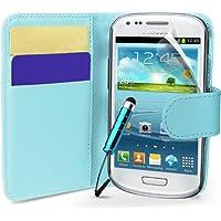Hellblau Supergets Hülle für das Samsung Galaxy S3 Mini I8190 Buchstil Klapptasche in Lederoptik mit Karteneinschub und Magnetverschluß Etui Flip Case, Schutzfolie, Reinigungstuch, Mini Eingabestift