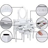 Songmics-Tocador-con-7-cajones-espejo-y-taburete-mesa-de-maquillaje-blanco-RDT10W