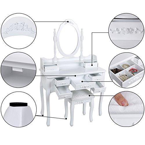 Songmics weiß 7 schubladen Schminktisch mit spiegel und hocker, inkl. 2 Stück Unterteiler, Kippsicherung, 145 x 90 x 40 cm RDT10W - 5