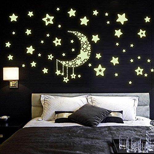 4 Set Fluorescent Autocollants, Glowing Stickers, Autocollants Lumineux, Star Moon Stickers Muraux pour Salon Chambre Décoration