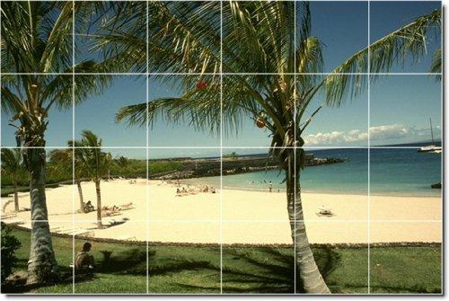 PLAYA FOTO MURAL AZULEJO MURAL 30  24X 36PULGADAS CON (24) 6X 6AZULEJOS DE CERAMICA