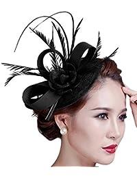 Fascinateurs pour femmes, Fascigirl Flower Feather Fascinator Hat Femmes Courses de mariage Cocktail Hair Clip Headpiece