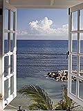 Artland Qualitätsbilder I Glasbilder Deko Bilder Katja Sucker Fenster zum Paradies Landschaften Fensterblick Fotografie Blau 80 x 60 x 1,1 cm A6LA
