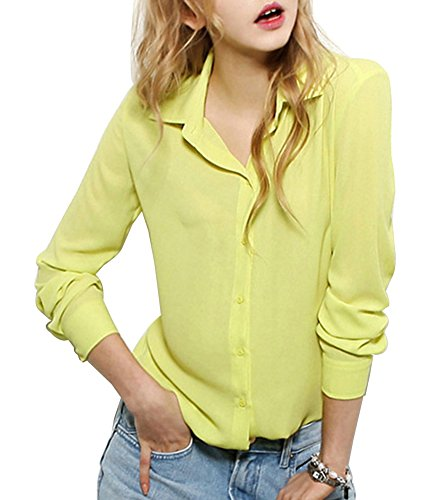 LaoZan Beiläufig Damen Chiffon Langärmeligen Knopf Hemd Bluse Tops Shirts Gelb