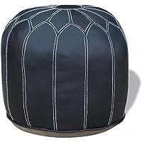 Lingjiushopping Puf redondo de auténtica piel gris 48x 48x 38cm Color Gris Material Color Piel Auténtica