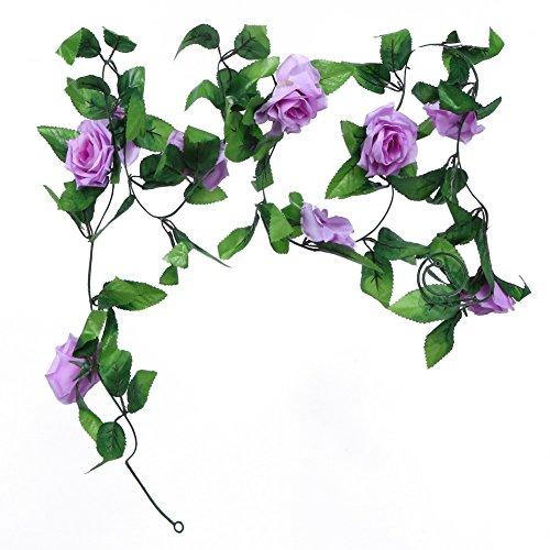 Broadroot 2,4 m künstliche gefälschte Seide Rose Ivy Blume Reben Garland Hochzeit Dekor (Lila)