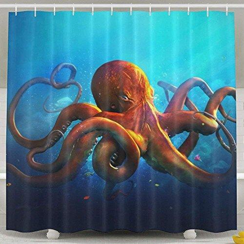 Suminla-Home Farbigen Oktopus Kraken geruchlos Wasserdicht Dusche Vorhänge für Badezimmer Premium 100% Polyester Stoff Deko Wanne Vorhang Designs 152,4x 182,9cm