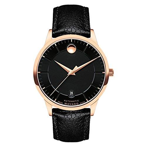 Movado uomo 188139.5mm Black Leather Band Automatic Analog Watch 0607062