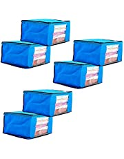 Amazon Brand - Solimo 6 Piece Non Woven Fabric Saree Cover Set with Transparent Window, Extra Large, Blue