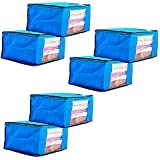 Amazon Brand - Solimo 6 Piece Non Woven Fabric Saree Cover Set with Transparent Window, Large, Blue