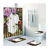 Knbob Badezimmer Teppich 4 Teilig Blumen Vogel Stil 15 Badezimmerteppich Set 3 Teilig Für Hänge Wc 45X75Cm