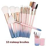 Pinceaux de maquillage 12 pièces Brosse de Maquillage Professionnel synthétique...
