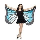 Overdose Damen Faschingskostüme Kinder Mädchen Jungen Butterfly Wing Cape Schmetterling Flügel Kostüm Schmetterlingsflügel Erwachsene Karneval Kostüm Kimono Schal Cape Tuch (147*70CM, A-Blue)