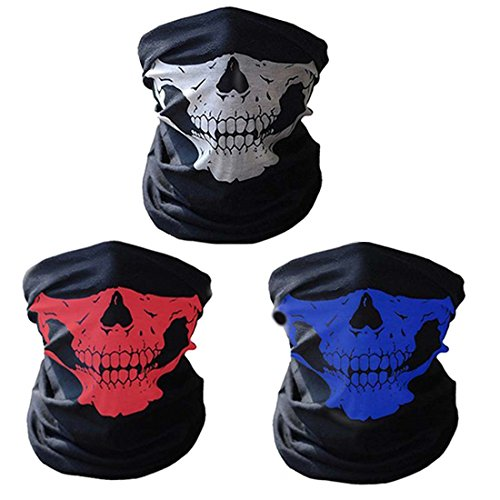 Cbvalley 3 pezzi multifunzione bandana maschera per bici motocicletta sci sport, traspirante tubo senza saldatura cranio scudo maschera scioppa (bianco/blu / rosso)
