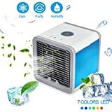SUNMAY Personal Space Air Cooler, 3-in-1 Portable Mini Cooler, Humidifier & Purifier, Desktop Air Conditioner Fan with 3 Speeds and 7 Colors LED Lights for Bedroom, Office