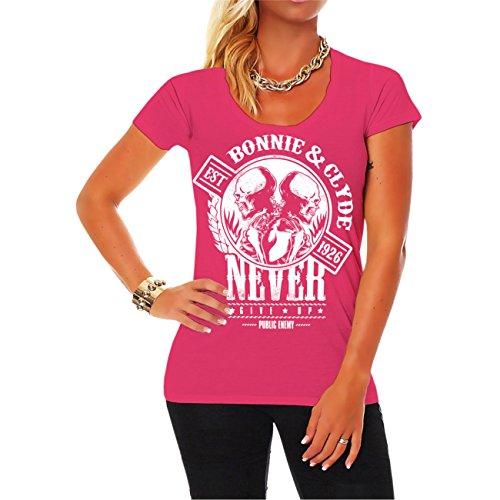 WUNSCHZAHL Mädels Shirt Bonnie & Clyde GANGSTER (Rückendruck mit Wunschzahl) pink F