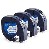 3x Kompatibel Dymo LetraTag Plastic White 12mm x 4m, LetraTag 91221 Etikettenband, Dymo S0721660 Etikettenband für Dymo LetraTag LT-100H LT-100T XR XM 2000 QX 50