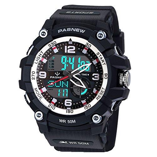 Pasnew-467 Herren Jungen Uhren Sport Digital-Analog-Uhren mit Alarm Wasserdicht Multifunktions-Mode Digital Armbanduhren für Männer Jungen