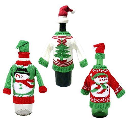 Set von 3Ugly Christmas Sweater Knit Wein Flasche Bezüge Style A