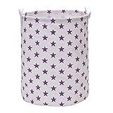Vagon para ropa sucia cesta de almacenamiento cubo cilíndrico lienzo de arpillera con elegante diseño de estrellas (morado)
