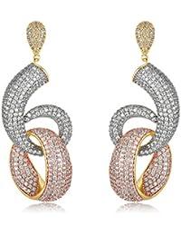 Shaze Silver Copper 3 Toned Aster Earrings for Women